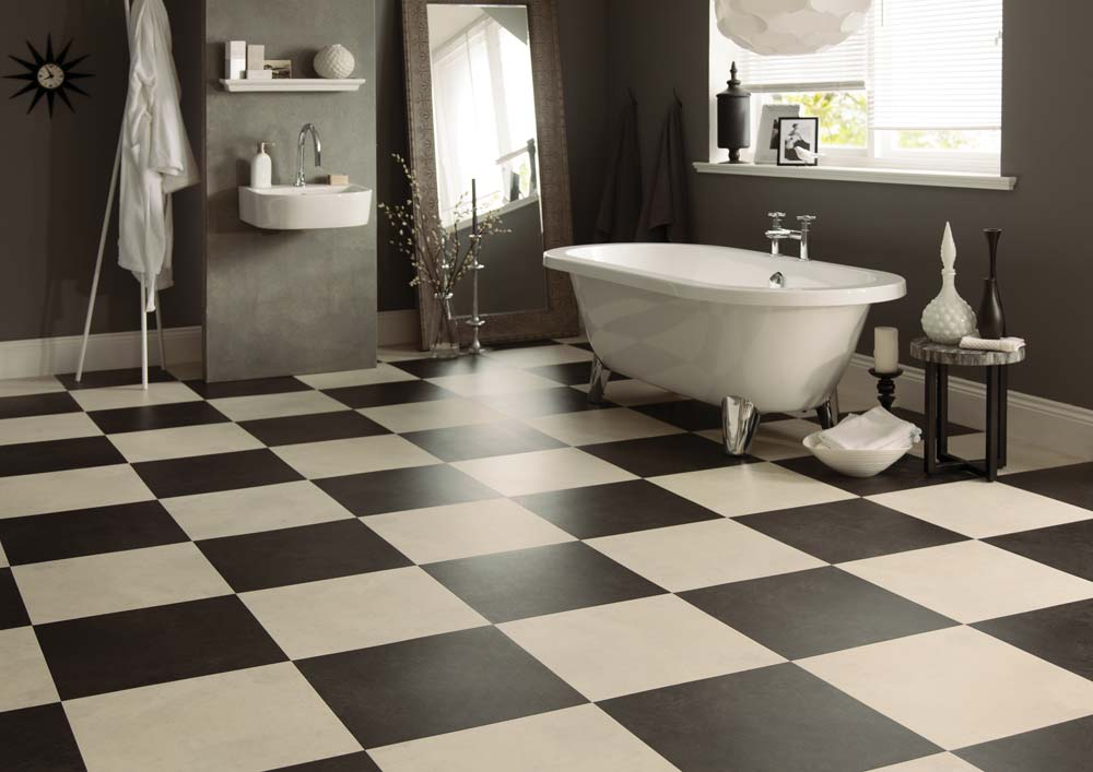 Black White and Red Tiles